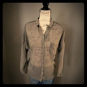 Zara- Sheer Striped Button Down